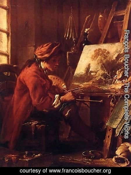 François Boucher - Self Portrait at Easel