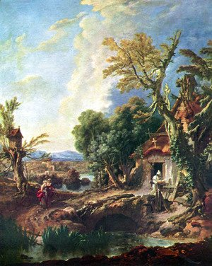 François Boucher - Landscape with his brother Lucas