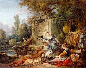 François Boucher - Resting at the fountain