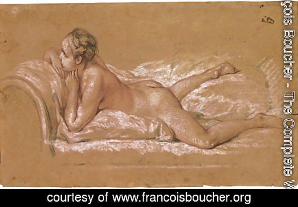 François Boucher - A female nude reclining on a chaise-longue