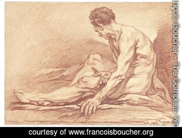 François Boucher - A male nude seated in profile to the left
