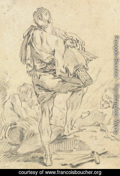 François Boucher - A Roman man carrying fasces and arms, seen from behind