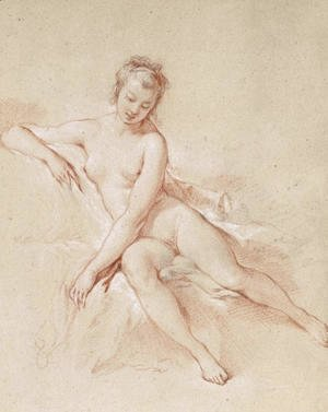 François Boucher - A seated female nude