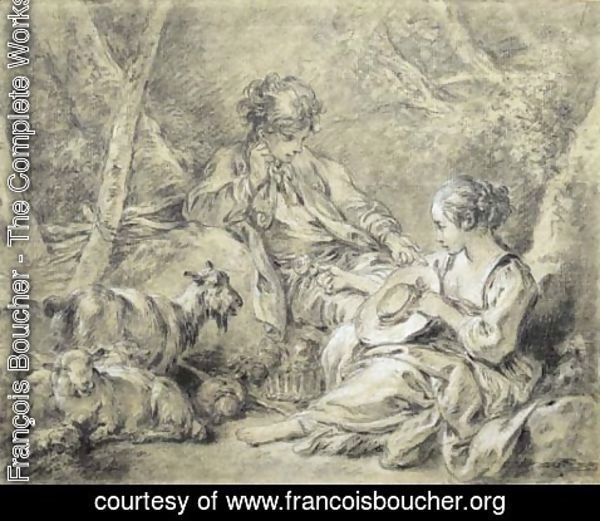 François Boucher - A young shepherdess presenting a flower to a shepherd