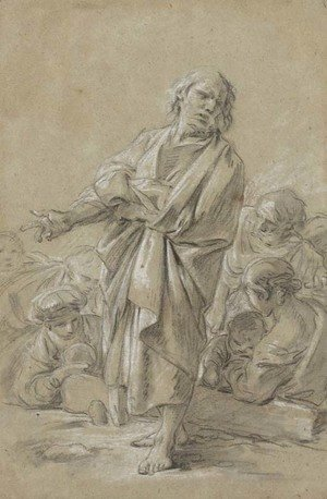 François Boucher - An Apostle preaching, with figures in the background