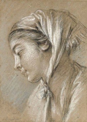 François Boucher - Head of a girl looking down to the left wearing a scarf