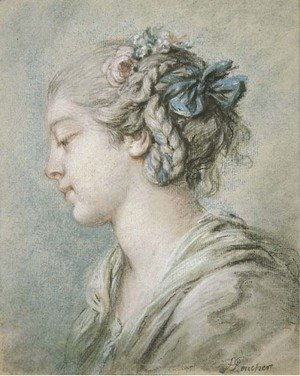 François Boucher - Head of a young girl turned to the right