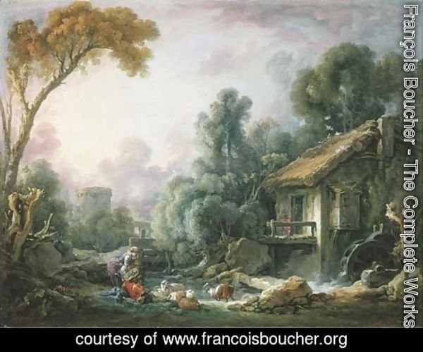 Le Moulin aA  Eau A landscape with a herdsman and his family by a mill
