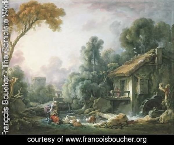 François Boucher - Le Moulin aA  Eau A landscape with a herdsman and his family by a mill