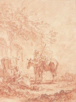 François Boucher - Shepherds with a flock by ruins, after Nicolaes Berchem