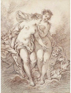 François Boucher - Two nymphs with putti and doves