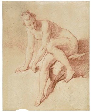 A seated female nude leaning forward and looking down to the right