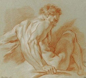 François Boucher - A seated nude holding a staff