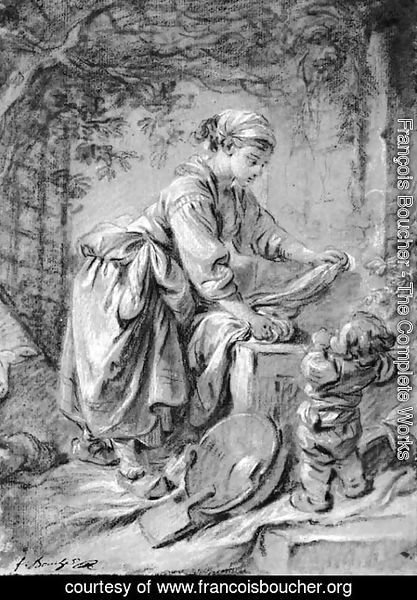 François Boucher - A washerwoman at a fountain with a child under a trellis