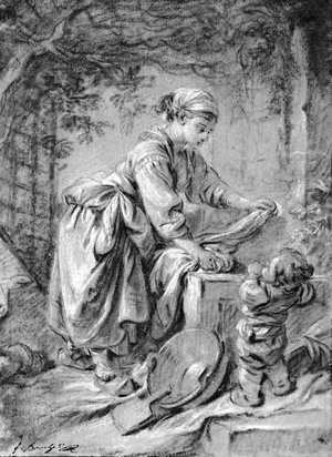 A washerwoman at a fountain with a child under a trellis