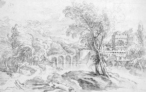 François Boucher - An extensive river landscape with a bridge and a fortified town beyond