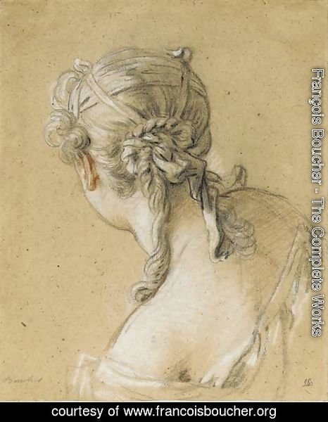 François Boucher - Head of a woman seen from behind