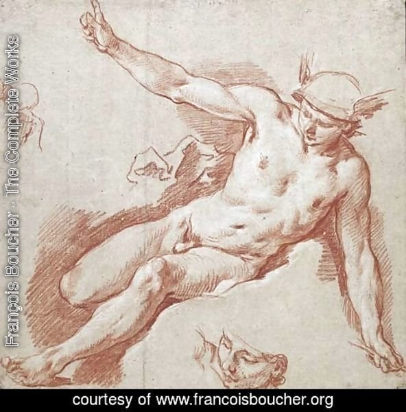 Mercury reclining on a cloud, pointing to the sky with his left arm, with subsidiary studies of his head and shoulder