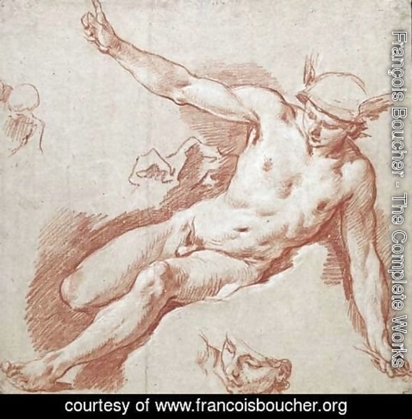 François Boucher - Mercury reclining on a cloud, pointing to the sky with his left arm, with subsidiary studies of his head and shoulder