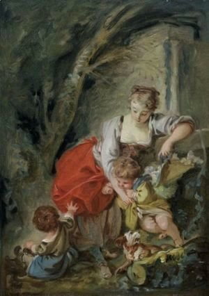 François Boucher - A Young Mother With Two Children And A Dog