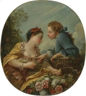 François Boucher - A Young Woman And Youth Placing Young Birds In A Cage The Bird Nesters