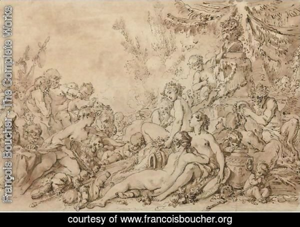 Nymphs, Satyrs, And Putti With Silenus Near An Altar To Pan