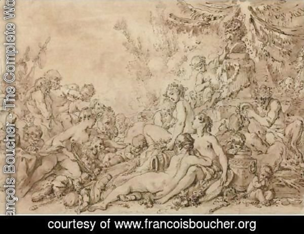 François Boucher - Nymphs, Satyrs, And Putti With Silenus Near An Altar To Pan