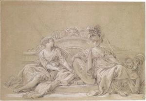 François Boucher - A Decorative Design With Minerva And History Attended By A Putto