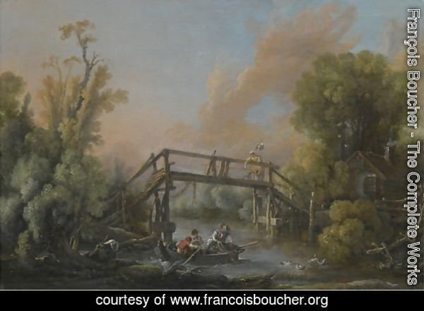 A River Landscape With A Woman Crossing A Bridge And Three Men In A Boat On The River Below