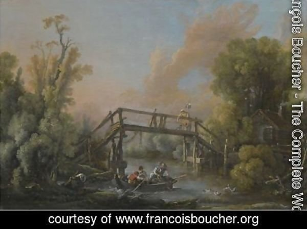François Boucher - A River Landscape With A Woman Crossing A Bridge And Three Men In A Boat On The River Below