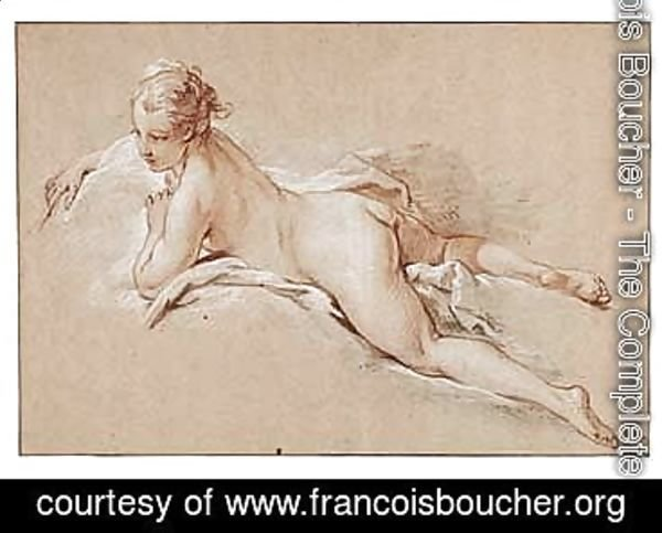 François Boucher - Study Of A Young Girl Lying On Her Front