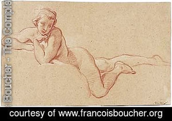 François Boucher - A Female Nude Reclining On Her Front