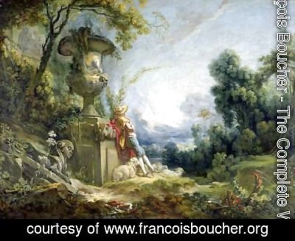 François Boucher - Young Shepherd In A Landscape
