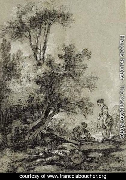Two Washerwomen by a Clump of Trees