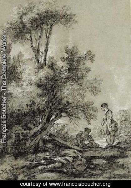 François Boucher - Two Washerwomen by a Clump of Trees