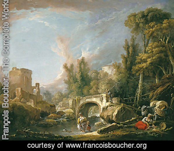 François Boucher - River Landscape with Ruin and Bridge