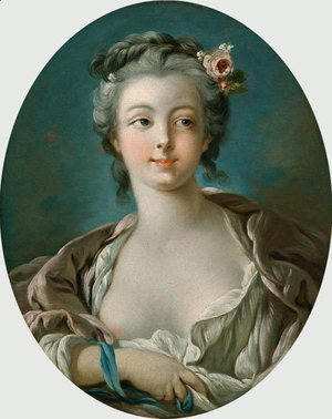 François Boucher - Young Woman with Flowers in Her Hair  wrongly called Portrait of Madame Boucher