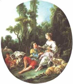 François Boucher - Are They Thinking About the Grape, 1747