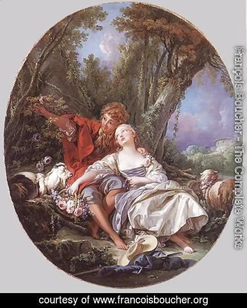 François Boucher - Shepherd and Shepherdess Reposing, 1761