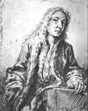 François Boucher - Drawing after a lost Self-Portrait of Watteau